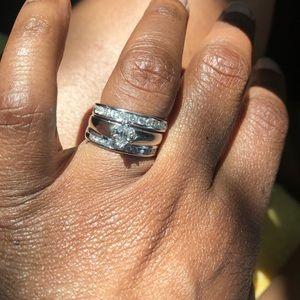 Platinum diamond wedding ring and bands size 7